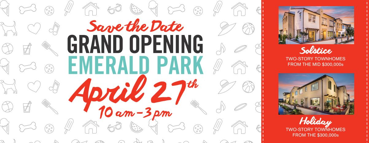 Save the Date Grand Opening Emerald Park April 27th